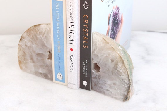 Agate bookends natural with grey tones. Pair of geodes. Boho chic Bookshelf decor. Crystal home decor