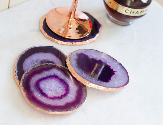 Purple agate coasters. Boho decor agate slice handmade gilded with copper leaf edging. Bohemian home decoration. Copper home decor.