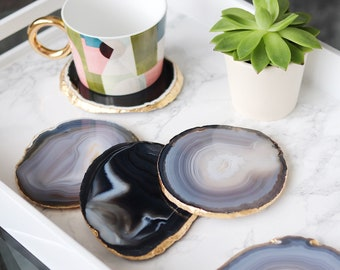 Agate coasters black grey natural agate slices with gold leaf edging. Bohemian home decoration. Per coaster
