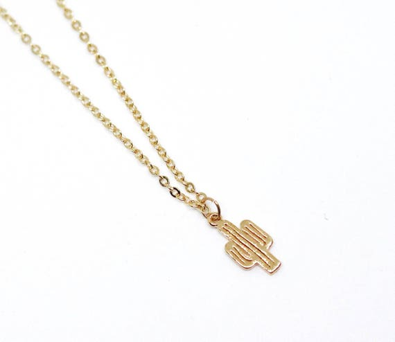 Gold cactus necklace. Cactus pendant. Cactus necklace gold chain. Gold delicate necklace