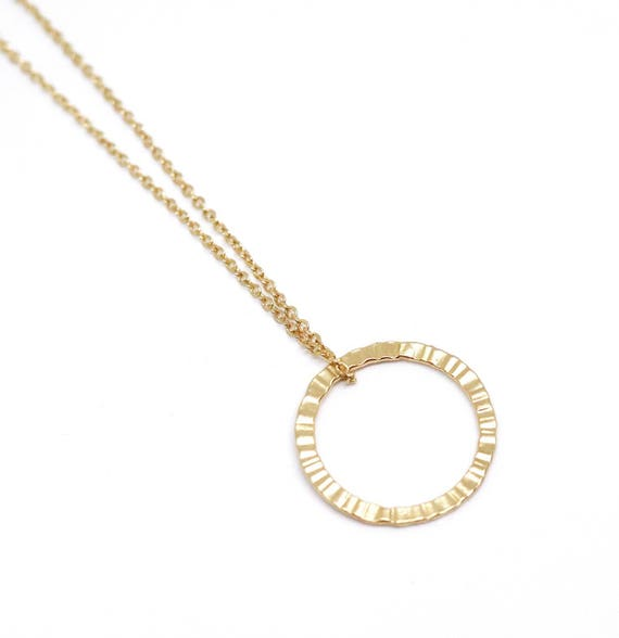 "Gold circle necklace. Karma pendant. Bridesmaid necklace silver plated 18"" chain"