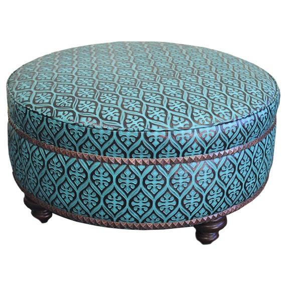 Wondrous Leather Teal Ottoman 36 Ncnpc Chair Design For Home Ncnpcorg
