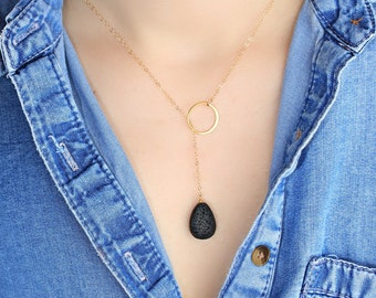 Lariat Lava Diffuser Necklace, Essential Oil Diffuser, Matte Teardrop Lava Bead Necklace, Diffuse Necklace, Aromatherapy Jewelry, Gold