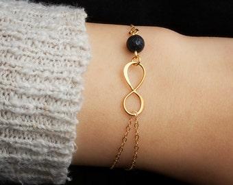 24K Infinity Lava Bead Bracelet, Essential Oil Diffuser Bracelet, Gold Double Infinity, Dainty Bracelet, Minimalist, Aromatherapy Bracelet