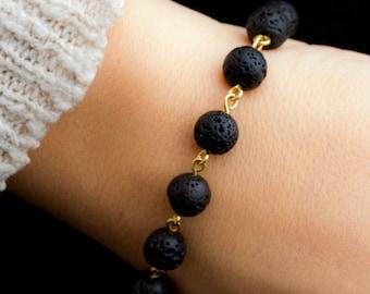 Brass Linked Lava Bead Essential Oil Diffuser Bracelet, Minimalist Lava Bead Bracelet, Modern Aromatherapy Jewelry, Black Lava