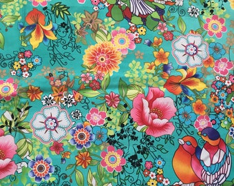 Bright Floral Bird Fabric