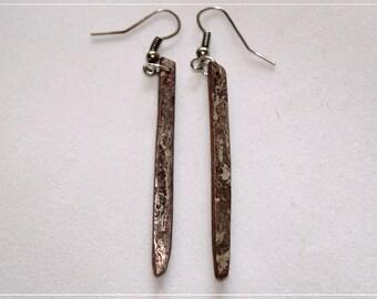 Mokume gane long earrings
