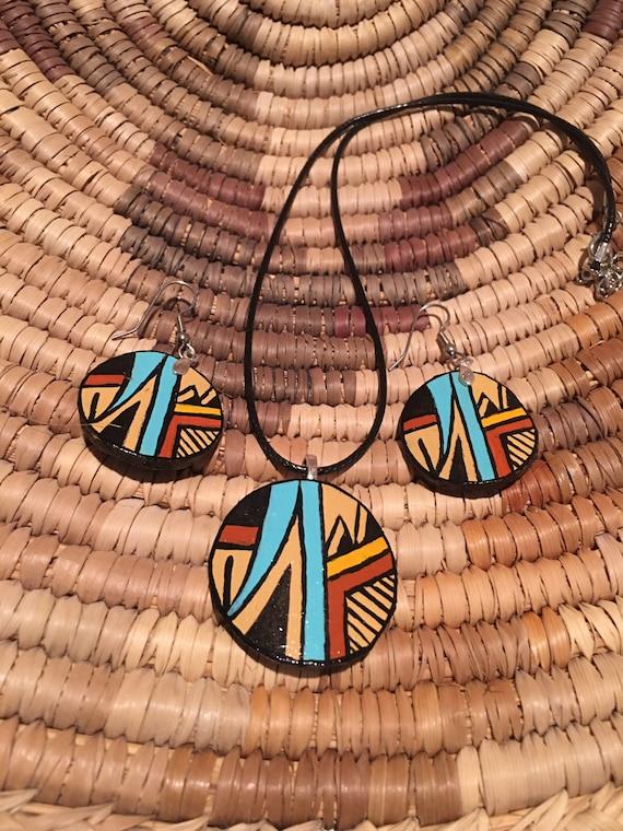 Native American Jemez Gourd Wood Jewelry Set