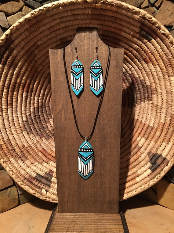Native American turquoise gourd wood jewelry set