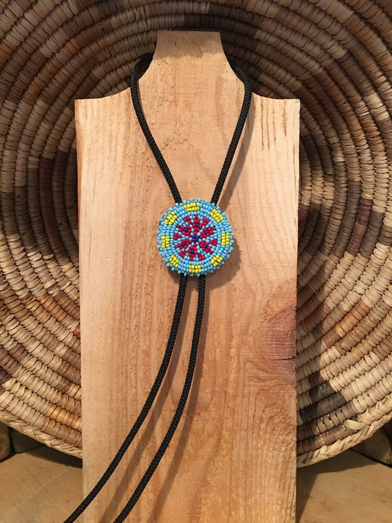 Native American Seed Bead Pendant Bolo Tie Necklace