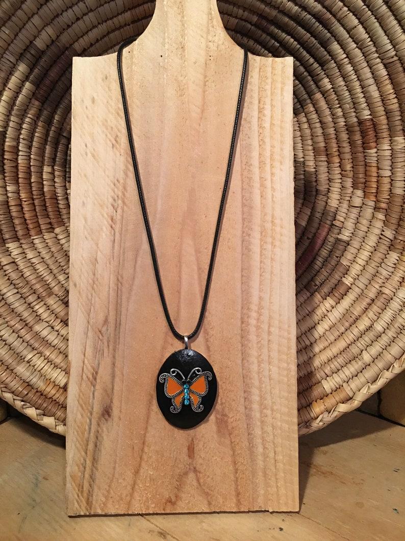 Metal Orange Rhinestone Butterfly focal set on black gourd wood pendant necklace