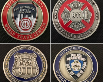 First Responder Challenge Coins NYPD & FDNY New York Police Firefighter