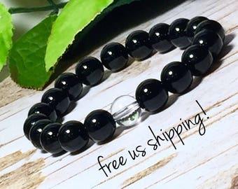 Black Onyx & Crystal Quartz Gemstone Bracelet, Gemstone Jewelry, Beaded Bracelet Women, Bead Bracelet 10mm, DreamCuff Jewelry, Free Shipping