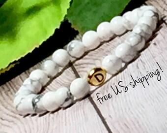 White Howlite Initial Bracelet, Initial Bracelet Gold, Initial Jewelry, Personalized Jewelry, Personalized Bracelet, 6mm, DreamCuff Jewelry