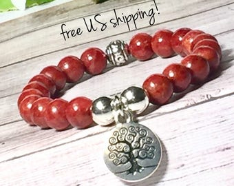 Red Coral Boho Bracelet, Boho Jewelry, Bohemian Bracelet, Beaded Bracelet, Boho Bracelets for Women, 8mm, DreamCuff Jewelry, Free Shipping