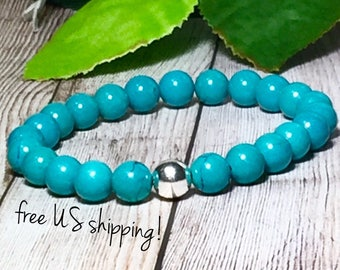 Turquoise Beaded Bracelet, Beaded Bracelets for Women, Bead Bracelet Women, Stretch Bracelet, Turquoise Bead Bracelet, 8mm Dreamcuff Jewelry