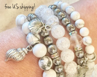 Beaded Bracelets Set of 5, White & Silver Boho Bracelets Set, Beaded Bracelets Silver, Swarovski, DreamCuff Jewelry, Free Shipping
