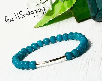 AAA Turquoise & Silver Gemstone Bracelet, Gemstone Jewelry, Bead Bracelet Women, Beaded Bracelet, Silver, DreamCuff Jewelry, Free Shipping