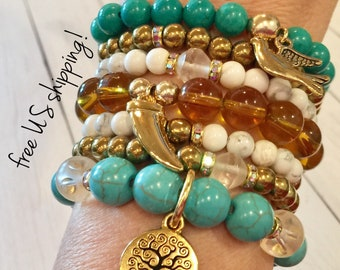 Turquoise & Gold Beaded Bracelets Set of 7, Boho Bracelets Set, Bracelet Set, Beaded, Bracelet, Swarovski, DreamCuff Jewelry, Free Shipping