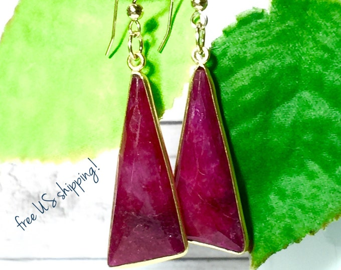 Featured listing image: Gemstone Earrings, Gold, Ruby Earrings, Gemstone Earrings Dangle, Handmade Earrings, Gemstone Gold Earrings, DreamCuff Jewelry Free Shipping