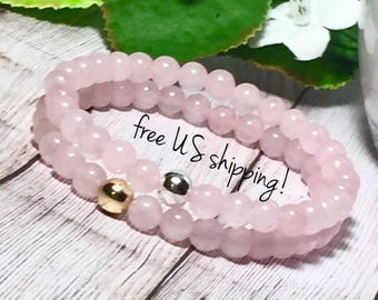 Rose Quartz Gemstone Bracelet Bead Bracelet Set Gemstone Bracelet Beaded Bracelets for Women Silver Gold 6mm DreamCuff Jewelry Free Shipping