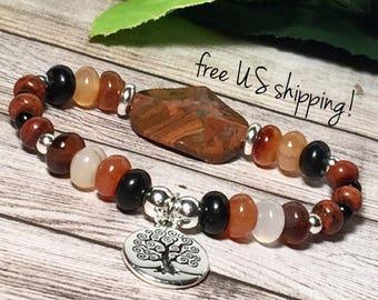Carnelian Boho Bracelet, Boho Bracelet Silver, Boho Bracelets for Women, Bracelet, Tree of Life Charm, 8mm, DreamCuff, Free Shipping Jewelry