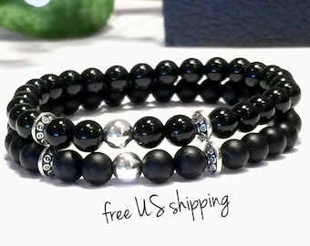 Black & Silver Onyx Beaded Couples Bracelets, Couples Jewelry, Couples Bracelets Set, Couples Gift, 6mm, DreamCuff Jewelry, Free Shipping