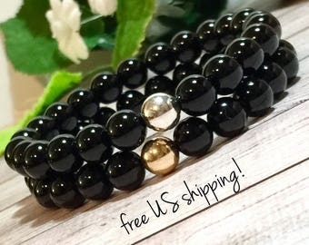 Onyx Gemstone Bracelets, Gemstone Jewelry, Beaded Bracelet Set, Beaded Bracelets for Women, Silver, Gold 8mm DreamCuff Jewelry Free Shipping