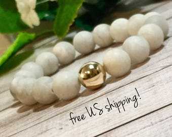 Frosted White Moonstone Beaded Bracelet, Beaded Bracelets for Women, Bead Bracelet Women, Gold, 10mm, DreamCuff, Free Shipping Jewelry