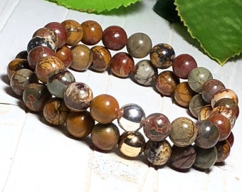 New! Picasso Jasper Beaded Bracelet Set, Bead Bracelet Set, Beaded Bracelet, Stone Bracelet Set for Women, 8mm, DreamCuff Jewelry, Free Ship