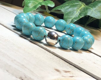 New! Turquoise Beaded Bracelet, Beaded Bracelets for Women, Bead Bracelet Women, Stretch Bracelet, Bead Bracelet 12mm Dreamcuff Jewelry