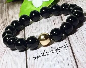 Black Onyx Beaded Stretch Bracelet, Bead Bracelet Women, Womens Beaded Bracelet, Silver, Gold, 10mm, DreamCuff, Free Shipping Jewelry