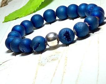 New! Blue Druzy Beaded Bracelet, Handmade Jewelry, Statement Jewelry, Bead Bracelet Women, Gold, Silver 10mm DreamCuff Jewelry Free Shipping