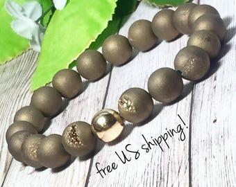 Bronze Druzy Beaded Bracelet, Beaded Bracelets for Women, Bead Bracelet Women, Gemstone, Gold, Silver, 10mm, Dreamcuff Jewelry Free Shipping