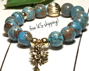 Blue Crazy Lace Agate Boho Bracelet, Bohemian Bracelet, Beaded Bracelets for Women, Bead Bracelet Gold, 10mm DreamCuff Jewelry Free Shipping