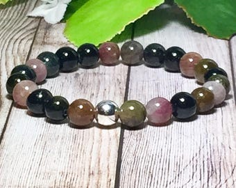 Tourmaline Gemstone Bracelet, Handmade Jewelry, Beaded Bracelet, Bead Bracelet, Bracelet Silver, Gold, 8mm, DreamCuff Jewelry, Free Shipping