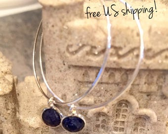 Lapis Gemstone Hoop Earrings, Sterling Silver Hoop Earrings, Gemstone Earrings, Hoop Earrings, Hoops, DreamCuff, Free Shipping Jewelry