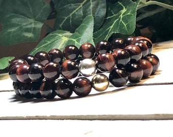 New! AAA Red Tiger Eye Beaded Bracelet, Beaded Bracelet Women Womens Beaded Bracelet Bead Bracelet Women 8mm Bracelet DreamCuff Jewelry