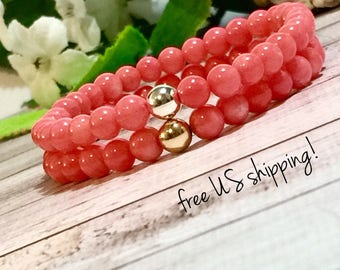 Coral Gemstone Bracelet, Gemstone Jewelry, Beaded Bracelet, Beaded Bracelets for Women, Silver, Gold, 7mm, DreamCuff Jewelry Free Shipping