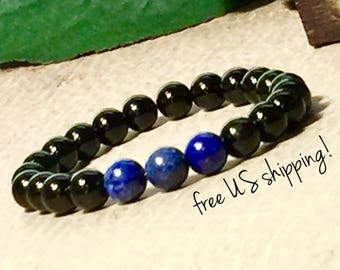 Thin Blue Line Beaded Bracelet, Police Officer Gifts for Men, Police Officer Gifts for Women, 6mm 8mm 10mm, Dreamcuff Jewelry, Free Shipping