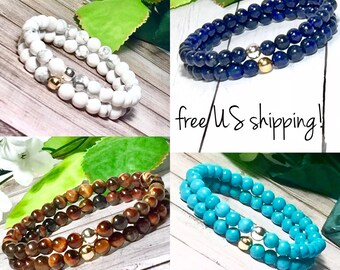 6mm Beaded Bracelets, Friendship Jewelry, Beaded Bracelet, 6mm Gemstone Bracelet,  Bracelets for Women, DreamCuff Jewelry, Free Shipping