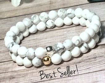White Howlite Beaded Bracelet, Handmade Jewelry, Bead Bracelet Woman, Beaded Bracelets Women Silver Gold 6mm DreamCuff Jewelry Free Shipping