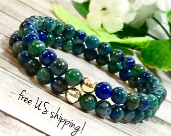 Chrysocolla Beaded Bracelet Set, Beaded Bracelet, Beaded Bracelets for Women, Bead Bracelet Silver Gold 6mm DreamCuff Jewelry Free Shipping