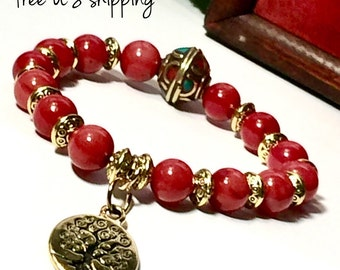 Coral Boho Bracelet, Statement Jewelry, Statement Bracelet, Boho Jewelry, Boho Bracelets for Women, Boho 8mm DreamCuff Jewelry Free Shipping