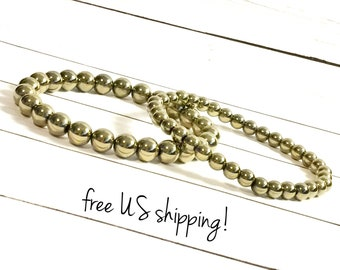 Gold Pyrite Bead Bracelet Gold Beaded Bracelets Gold Bead Bracelet Beaded Bracelets for Women Pyrite 8mm 6mm DreamCuff Jewelry Free Shipping