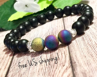Onyx & Druzy Beaded Bracelet, Beaded Bracelets for Women, Bead Bracelet Women, Gemstone, Silver, Gold, 8mm, Dreamcuff Jewelry, Free Shipping
