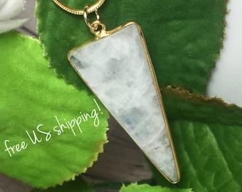 Moonstone Gemstone Pendant Necklace, Gemstone Jewelry, Gold Gemstone Pendant Necklace, Gemstone, Necklace, DreamCuff Jewelry, Free Shipping