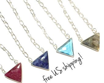 Faceted Triangle Gemstone Pendant Necklace, Gemstone Necklace, Gemstone Pendant, Natural Gemstone Necklace, DreamCuff, Free Shipping Jewelry
