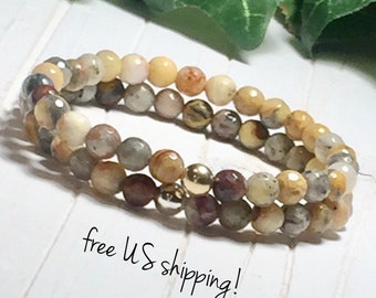 Faceted Ocean Agate Beaded Bracelet, Beaded Bracelet Agate, Beaded Bracelet Women, Bead Bracelet Women, Gold, Silver, 6mm, DreamCuff Jewelry