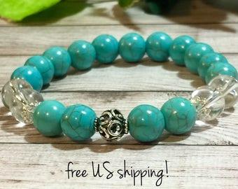 Turquoise Beaded Bracelet, Gemstone Bracelet, Gemstone Jewelry, Beaded Bracelets for Women, Silver, 10mm, DreamCuff Jewelry, Free Shipping